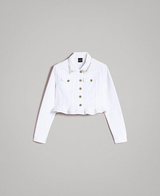 Jacke mit Rüschen und Stickerei Weiß Frau 191MT2442-0S