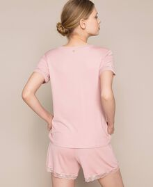 """Short ribbed pyjamas with lace """"Peachskin"""" Pink Woman 201LL25EE-03"""