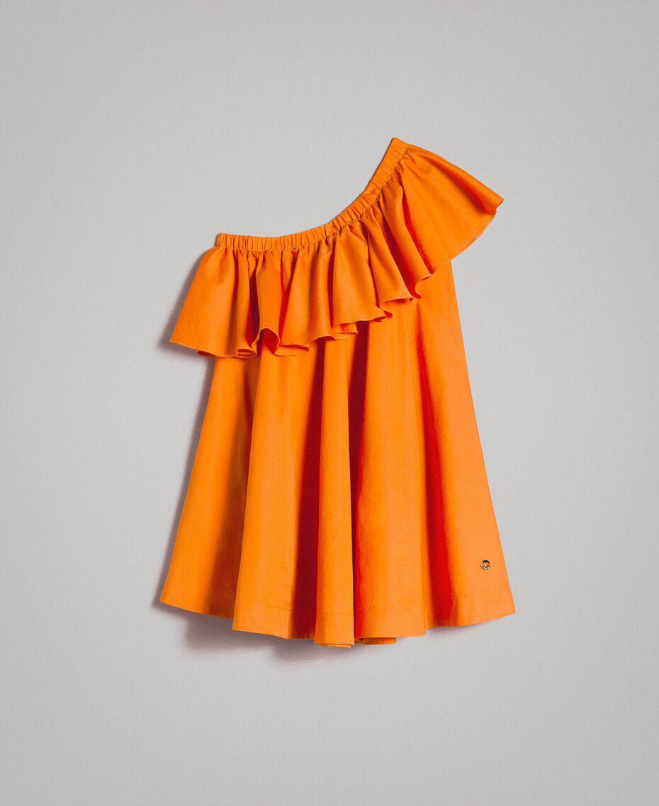 """Robe épaule dénudée en popeline stretch """"Orange Estivale"""" Enfant 191GJ2290-01"""