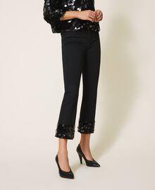 Расклешенные джинсы с пайетками Черный женщина 202MT2124-02