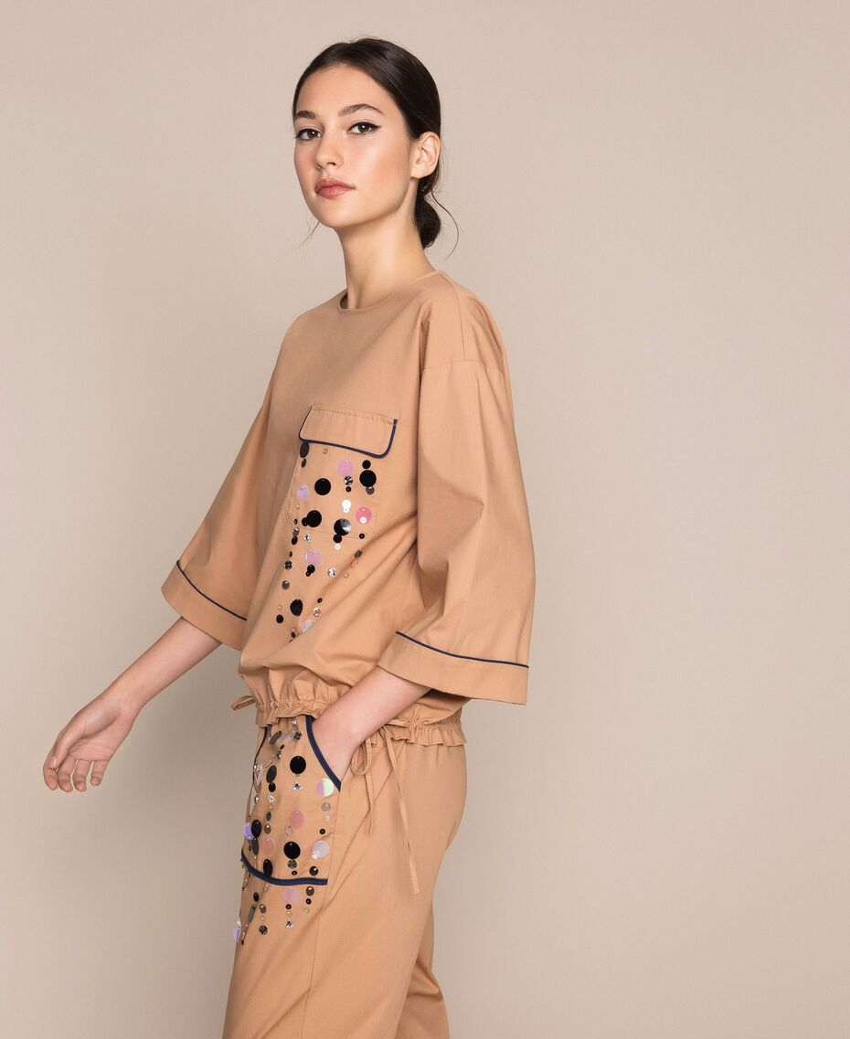 Poplin blouse with sequin embroidery Light Brown Woman 201ST2025-02