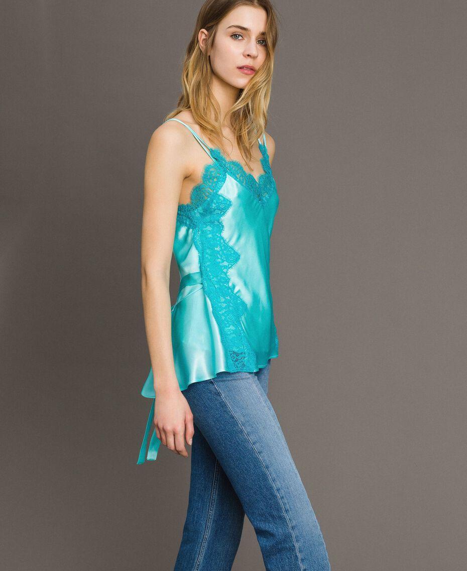 """Top en soie et satin mélangé agrémenté de dentelle Bicolore Bleu """"Turquoise Pastel"""" / Bleu Céramique Femme 191TT2092-01"""