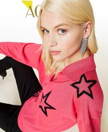 """Maglia a polo con stelle Bicolor Rosa """"Bubblegum"""" / Nero Donna 212AP3122-01"""