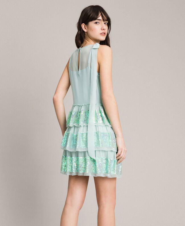 Georgette-Kleid mit Pailletten Aquamarin Frau 191TP2581-03