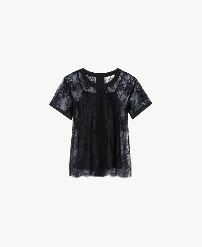 Maxi T-shirt with lace Black Woman LS8FFF-01
