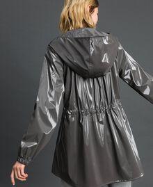Vinyl effect parka coat with drawstring Lead Grey Woman 192LI2JCC-03