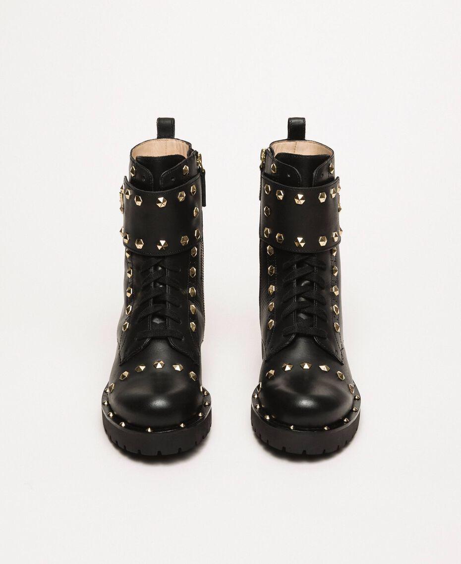 Кожаные ботинки-амфибии с заклепками Черный женщина 999TCP020-05