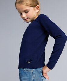Kragenlose Strickjacke aus Stretch-Viskose Schwarz Kind GCN3AB-04