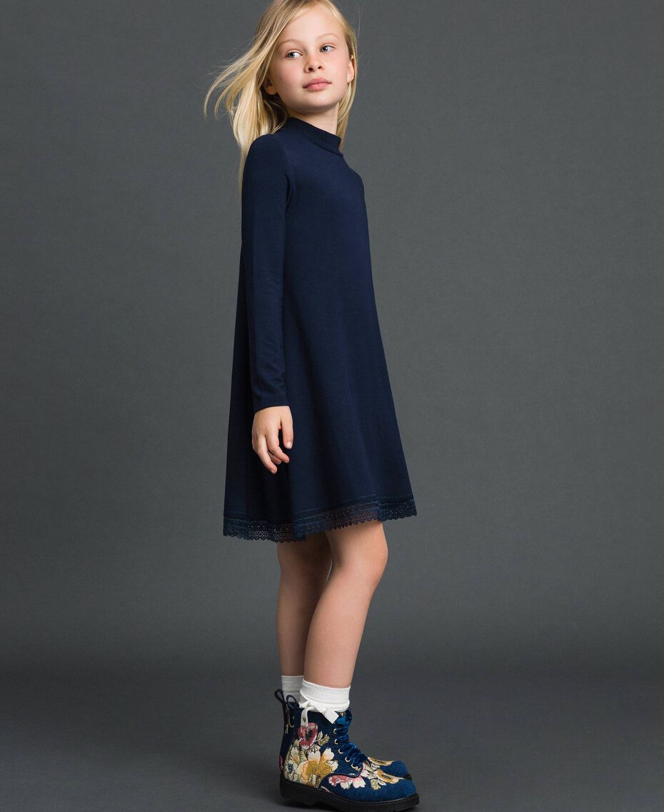 Dress with lace and rhinestone logo Blue Night Child GCN2F1-01