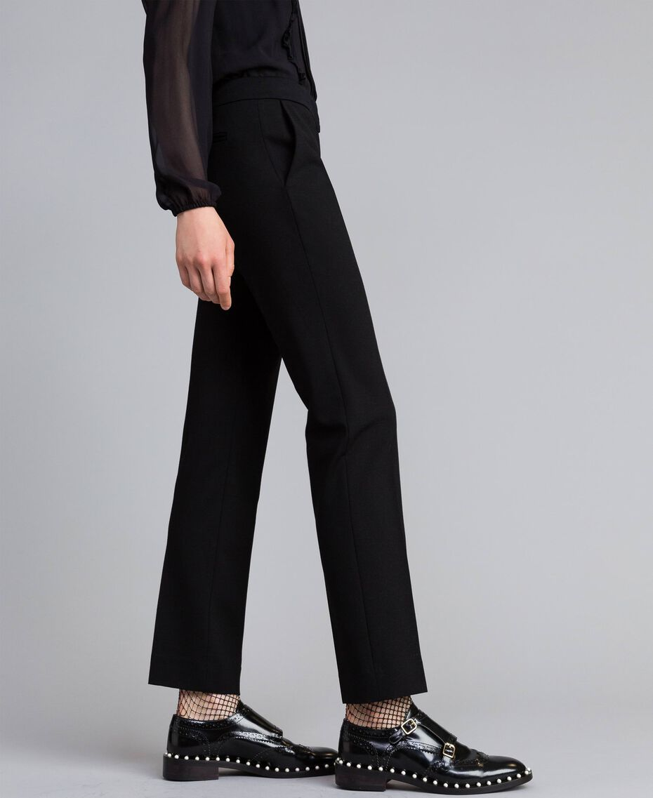 Pantalon cigarette en point de Milan Noir Femme PA8219-01