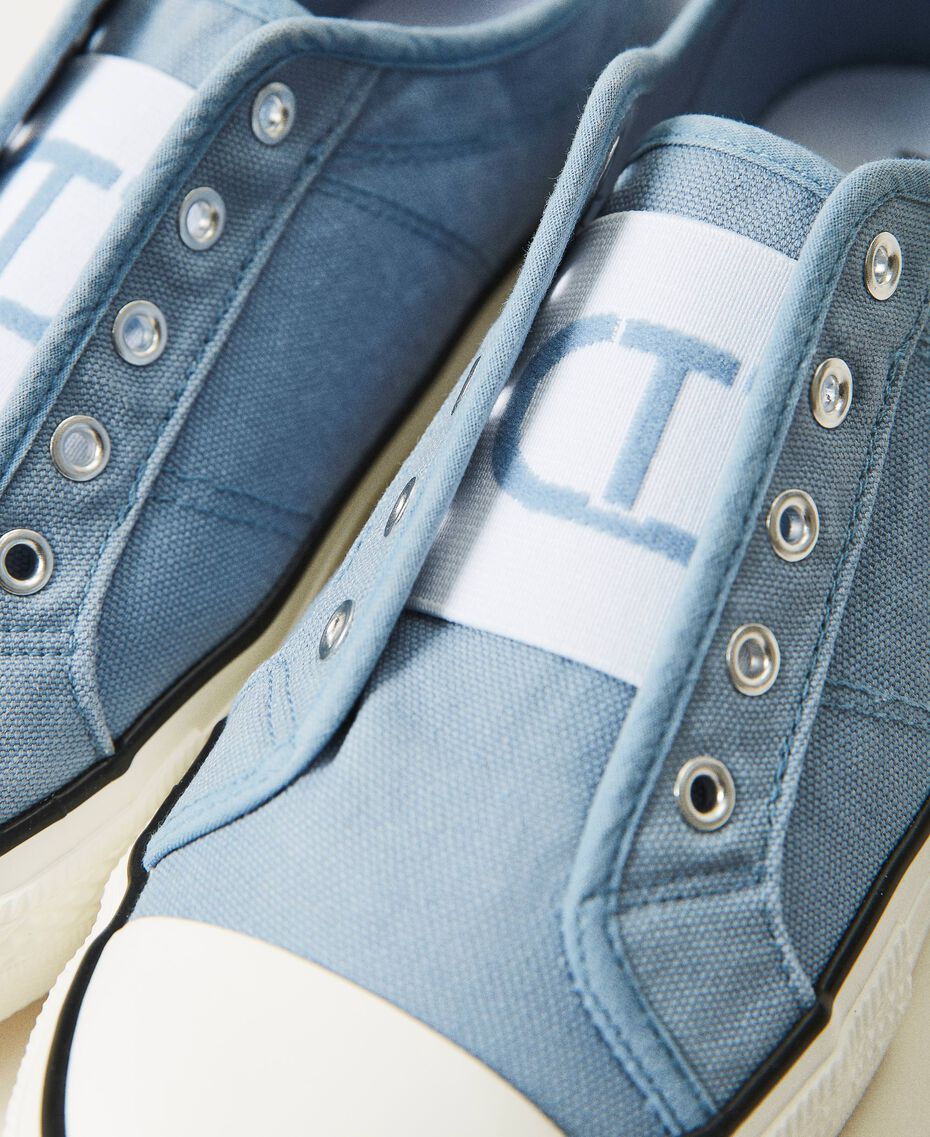 Canvas trainers with logo Denim Woman 211TCT170-03