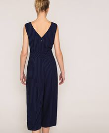 Cropped pin stripe jumpsuit with belt Midnight Blue Pin Stripe Jacquard Woman 201ST2084-03
