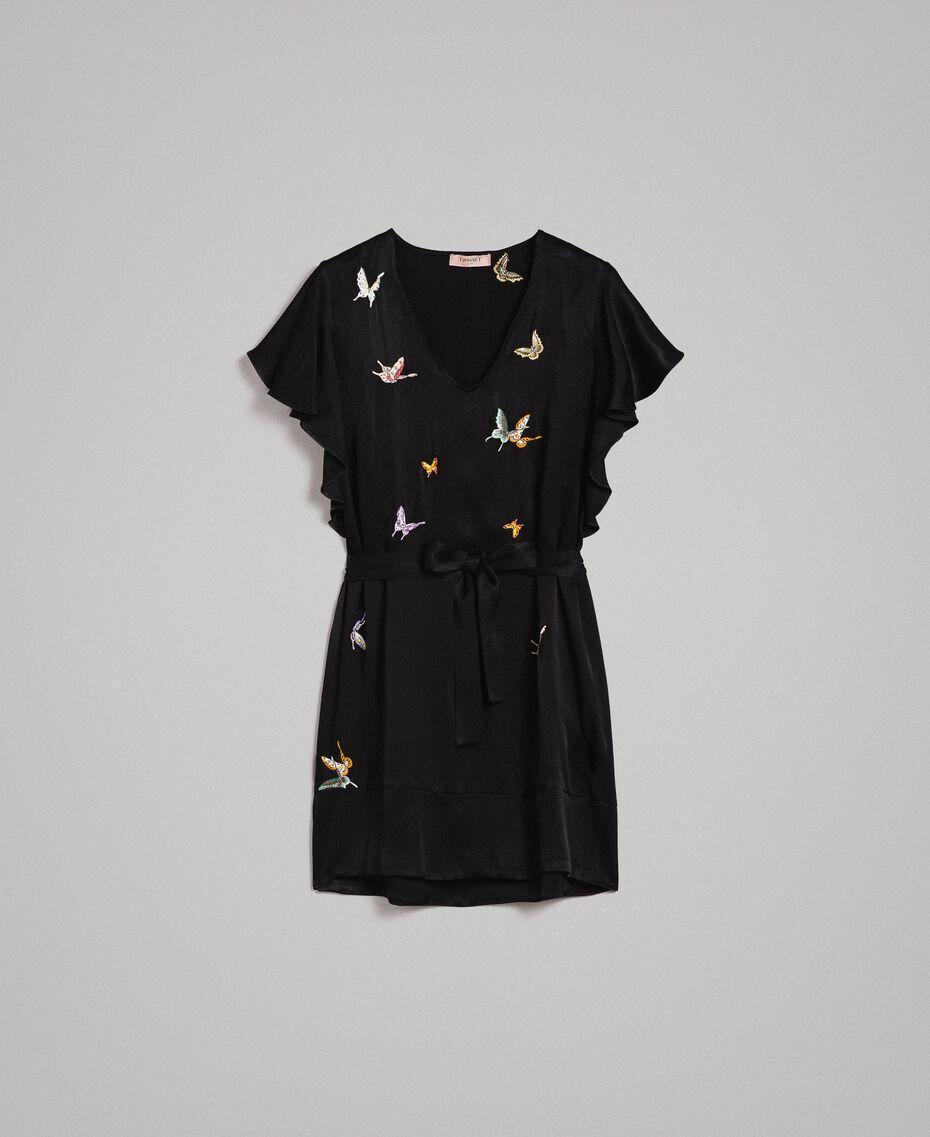 Robe en satin avec broderie papillons Noir Femme 191TT2114-0S