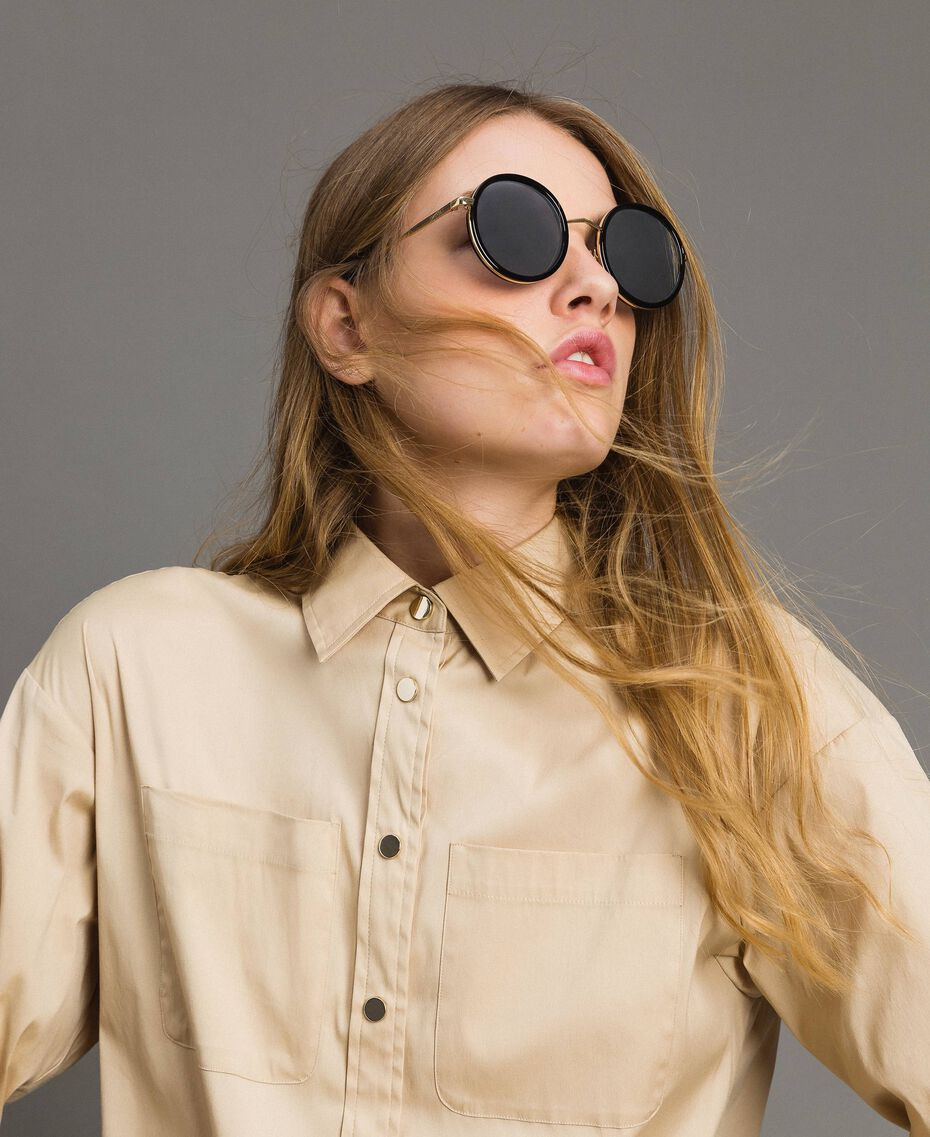 Round sunglasses Black Woman 999TZ4011-0S