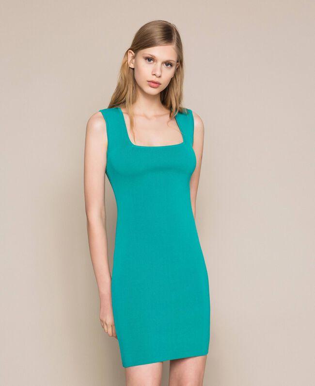Knit sheath dress Tea Leaf Green Woman 201TT3180-05
