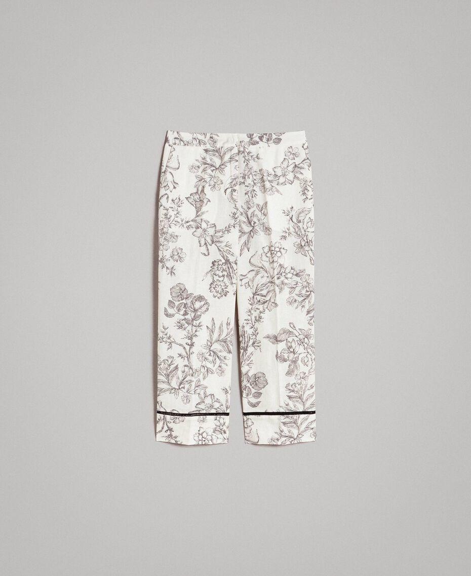 Leinenhose mit Blumenprint Motiv Toile De Jouy Schwarz Frau 191TT2461-0S