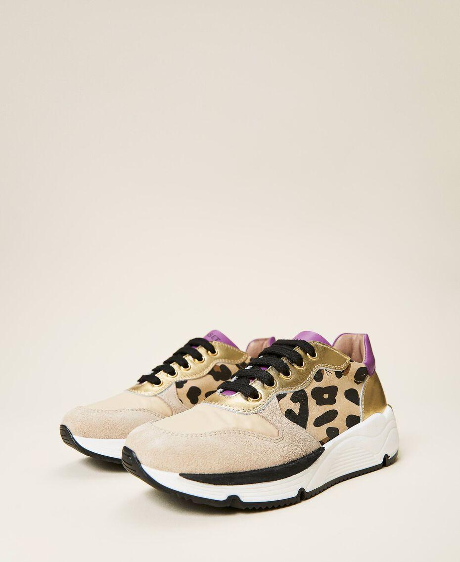 Zapatillas de running con estampado animal print Multicolor Oro / Estampado Maculado Mazapán / Wood Violet Niño 212GCJ090-01
