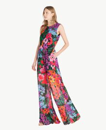 Printed jumpsuit Sixties Style Flower Print Woman TS824C-02