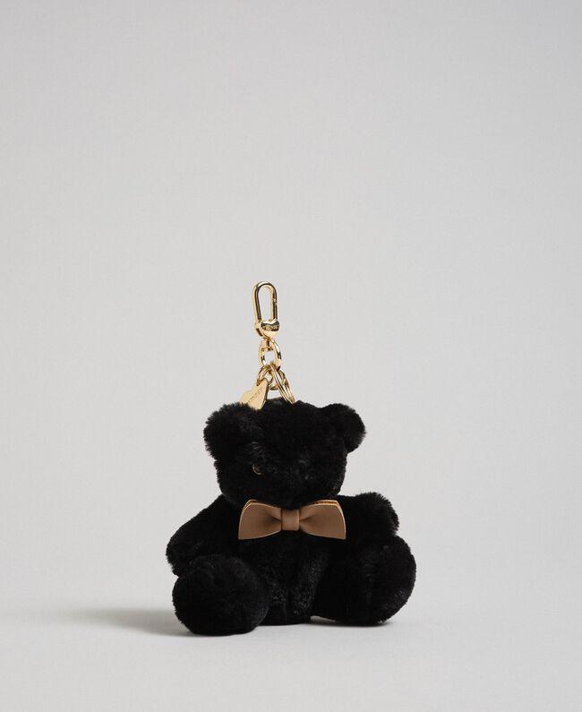 Porte-clés ourson en fausse fourrure Noir Femme 192TO8203-01