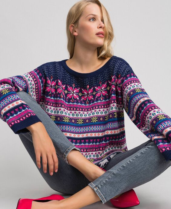 Multicolour jacquard jumper with embroidery