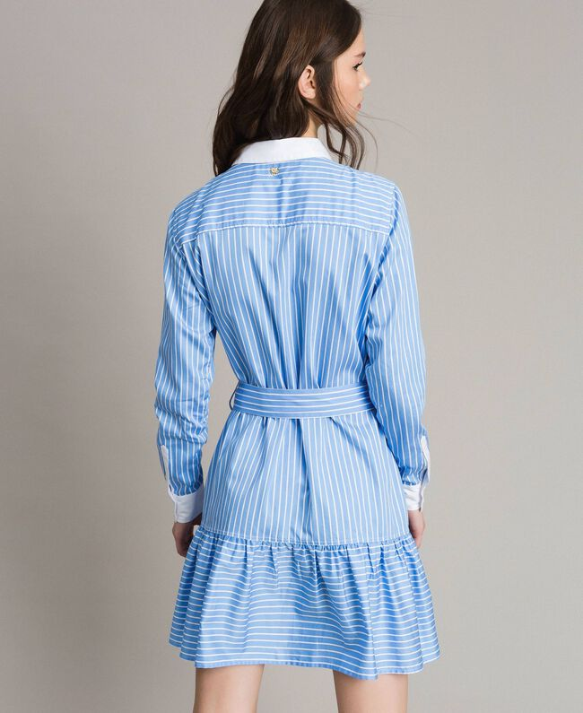 Poplin shirt dress with embroidery Cornflower Blue Woman 191MP2043-04