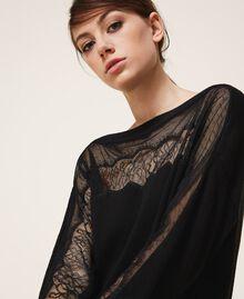 Vestido de punto con tul y encaje Negro Mujer 202TP3380-04