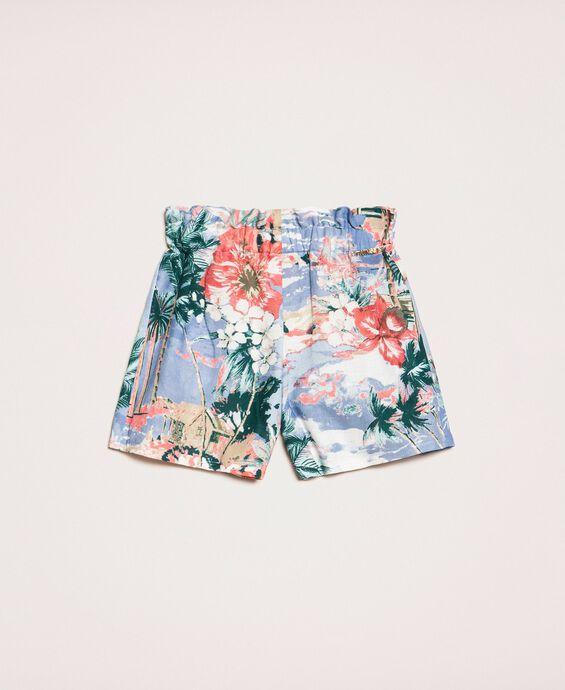 Linen blend printed shorts