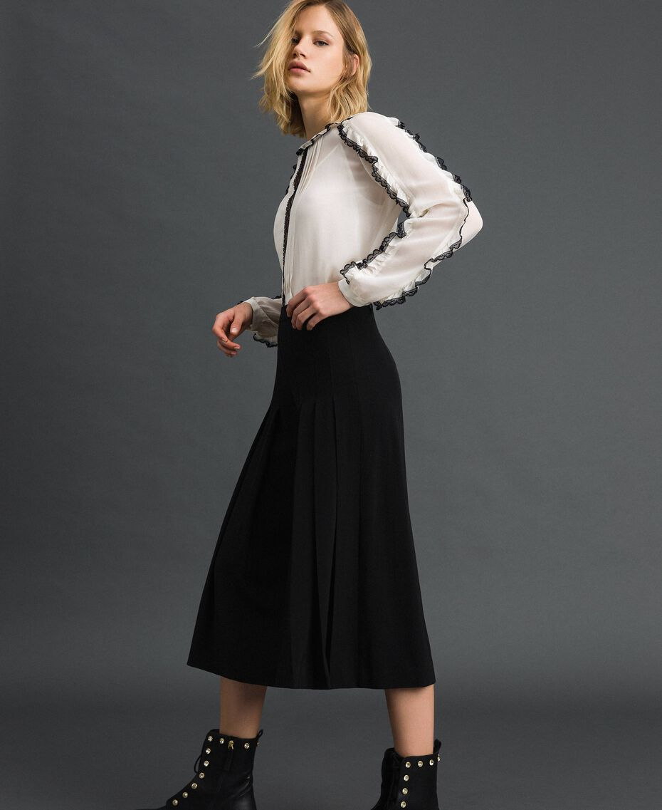Trouser-skirt with pleats and logo Black Woman 192ST2164-02