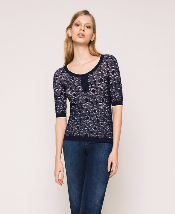 Openwork jumper with buttons
