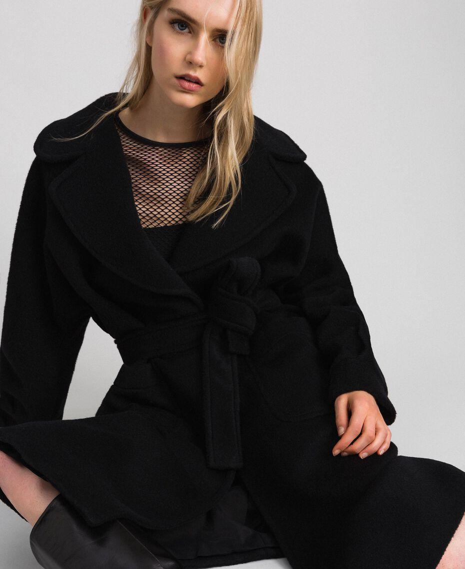 Long wool cloth coat Black Woman 192TT2600-05