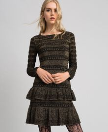 Lurex knit dress with flounces Black Striped / Lurex Woman 192TT3221-02