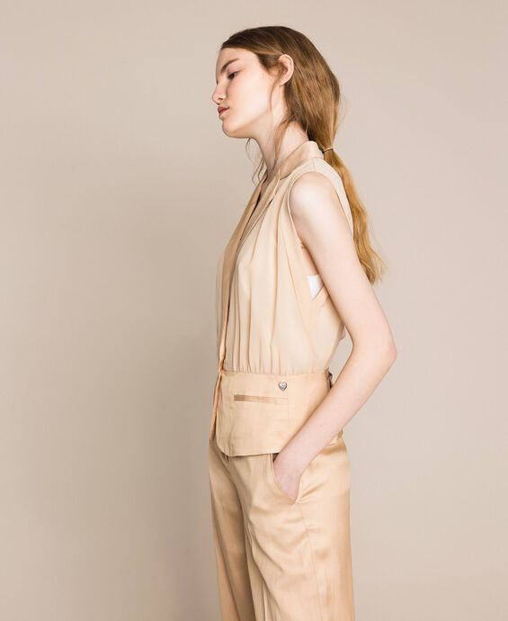 Linen blend and georgette waistcoat