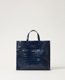 "Borsa shopper Twinset Bag grande in pelle Stampa Cocco Blu ""True Navy"" Donna 202TB7110-02"