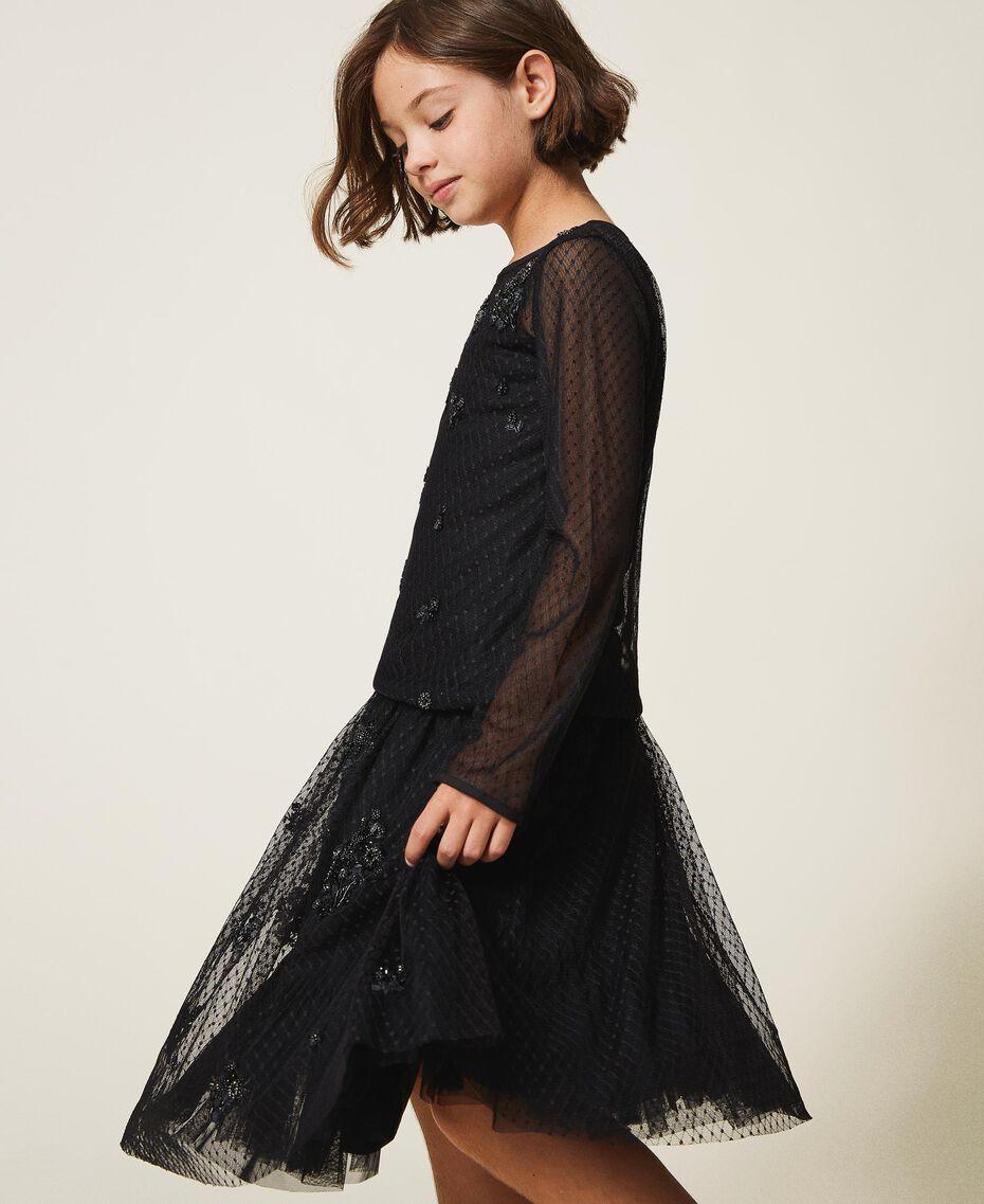 Bluse aus Tüll mit Stickereien Schwarz Kind 202GJ2611-02