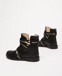 Кожаные байкерские ботинки с молниями Черный женщина 201TCP104-03