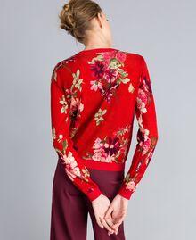 Printed wool mandarin collar top Red Garden Print Woman PA83KD-03