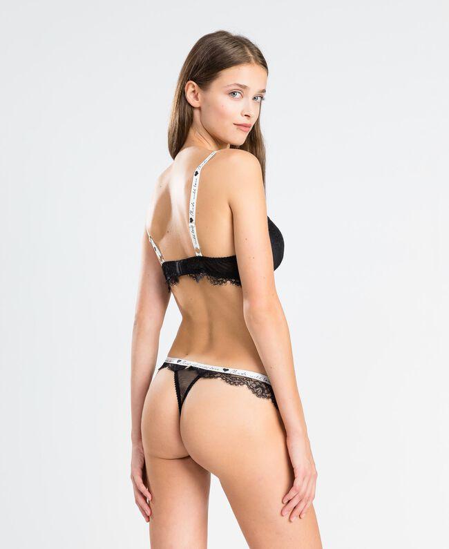 Soutien-gorge push-up en dentelle avec élastique (bonnets C) Noir Femme LA8F4C-03