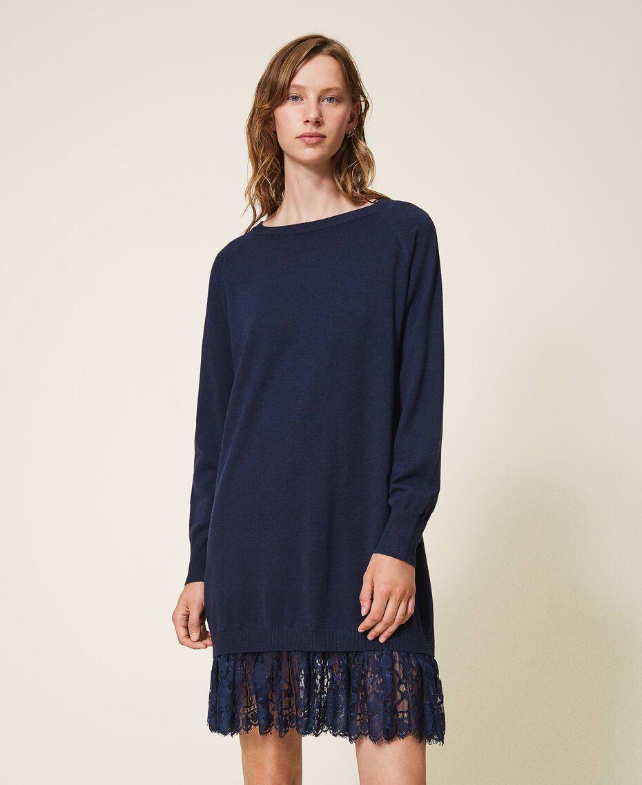 Knitted dress with lace hem Blackout Blue Woman 202LI3RFF-02