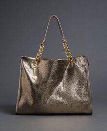 Reisetasche aus Lederimitat in Glitzeroptik Gold Gelb Frau 192LL7ZFF-02