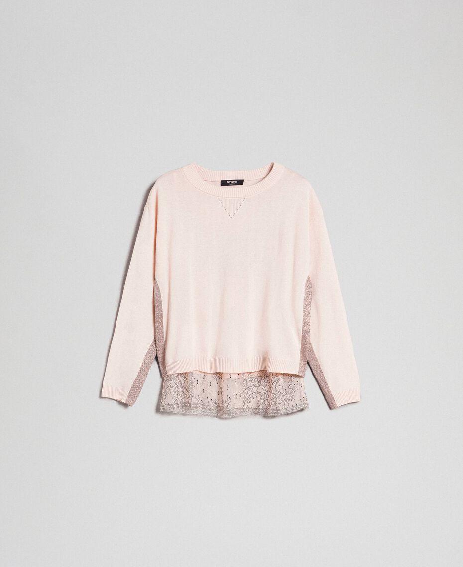 Kastiger Pullover mit Unterhemd Blütenknospenrosa Frau 192MP3101-0S