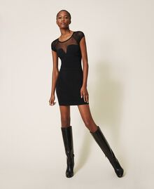 Vestido de tubo de punto y tul Negro Mujer 202MT3010-01