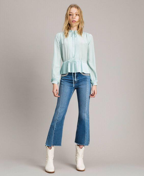Pleated silk blend shirt
