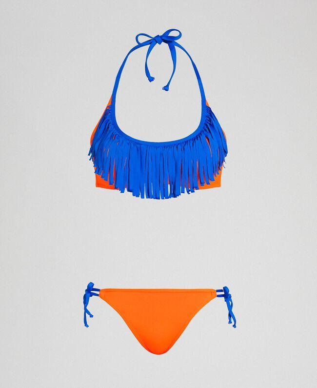 Maillot de bain bikini avec franges Orange Fluo / Bleu Fluo Femme 191TQM024-01