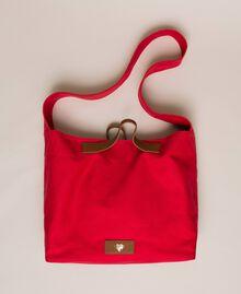 Canvas shopper with shoulder strap True Red Woman 201LM7ZKK-01