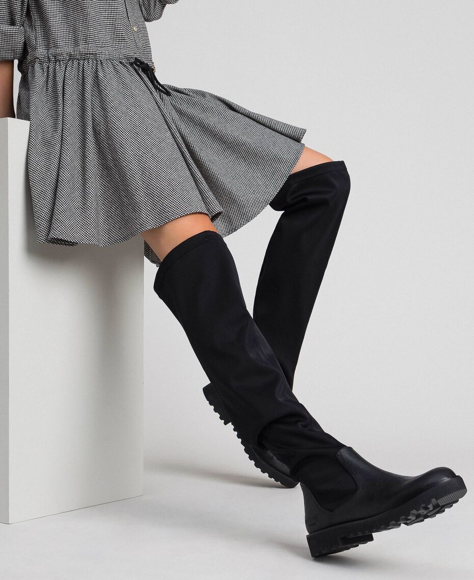 Thigh high boots in stretch fabric Black Woman 192MCT092-0S