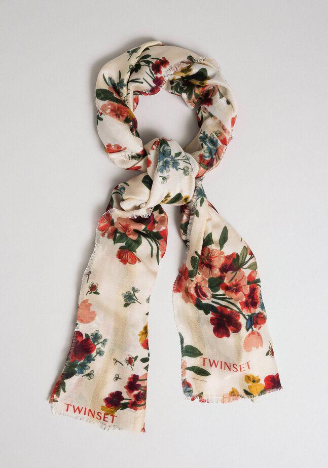 Écharpe avec bandes en lurex et imprimé floral