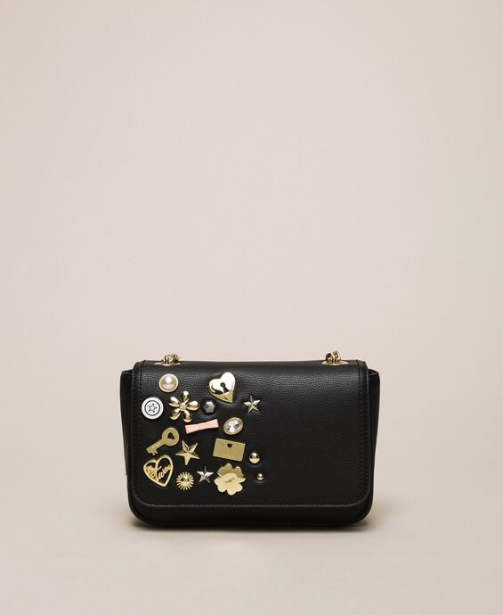 Faux leather shoulder bag with studs