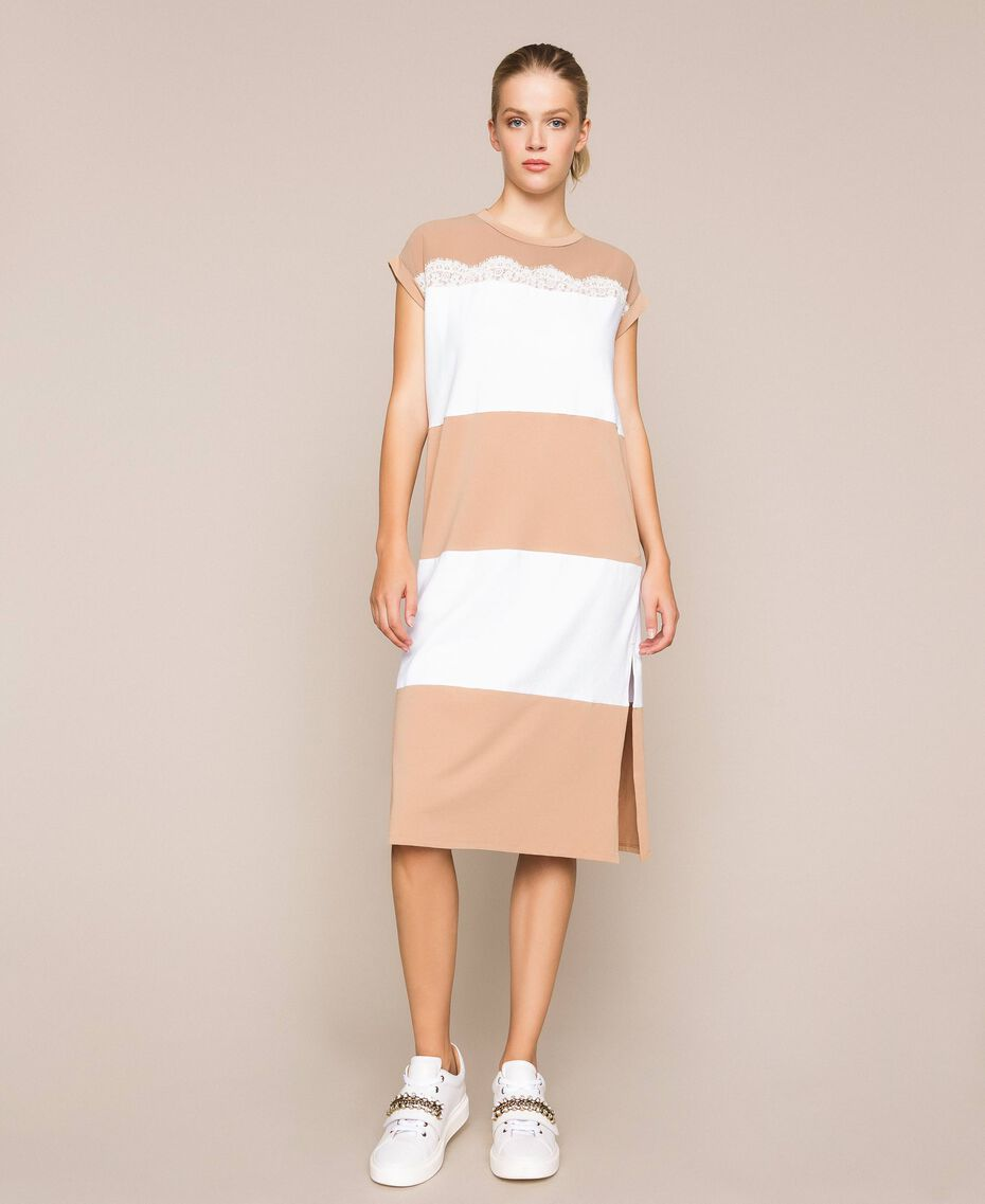Two-tone long dress with lace Two-tone Optical White / Light Brown Woman 201ST2167-01