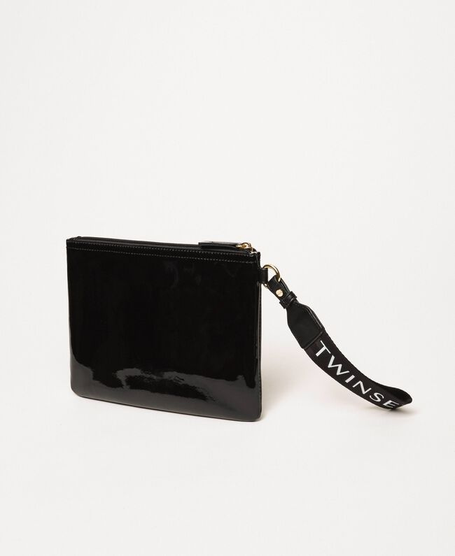 Patent leather effect faux leather pochette Black Woman 201TA717A-03