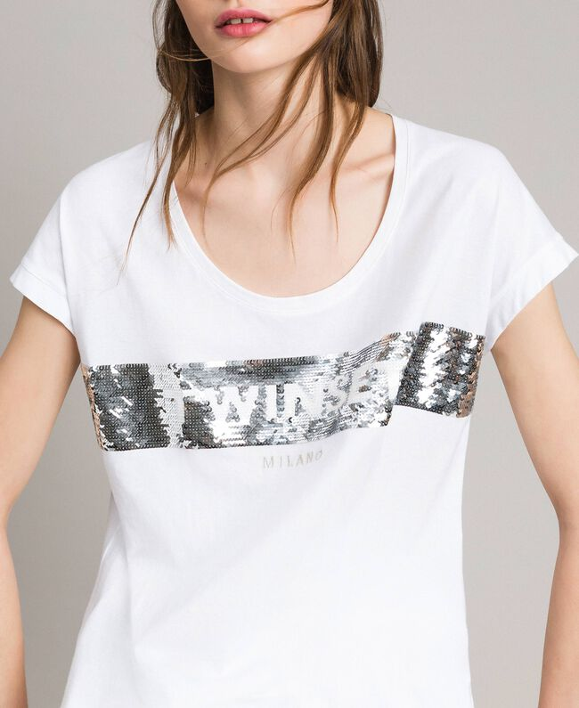 T-Shirt mit Pailletten und Logo Weiß Frau 191TP260E-04